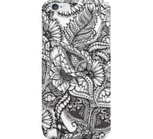 Modern black and white hand drawn floral pattern iPhone Case/Skin