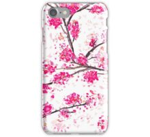 Pink cherry blossoms Oriental Sakura watercolor  iPhone Case/Skin