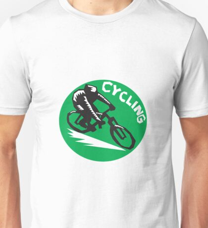 Cyclist Riding Bicycle Cycling Circle Woodcut Unisex T-Shirt