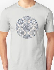 Brush and Ink Watercolor Pattern in Indigo and Cream Unisex T-Shirt