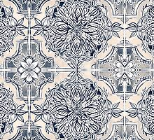 Brush and Ink Watercolor Pattern in Indigo and Cream by micklyn