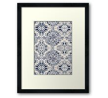 Brush and Ink Watercolor Pattern in Indigo and Cream Framed Print