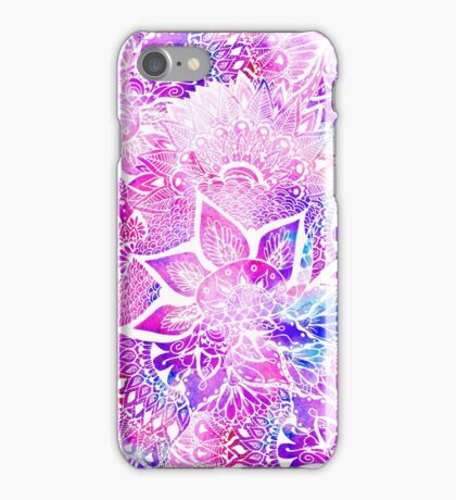 Purple blue henna boho floral mandala pattern iPhone Case/Skin