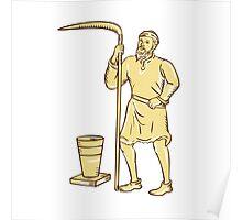Medieval Farmer Holding Scythe Etching Poster