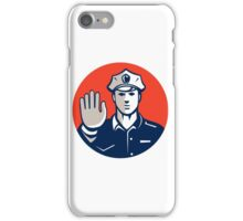 Traffic Policeman Hand Stop Sign Circle Retro iPhone Case/Skin