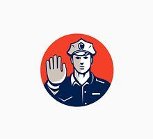 Traffic Policeman Hand Stop Sign Circle Retro Unisex T-Shirt