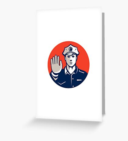Traffic Policeman Hand Stop Sign Circle Retro Greeting Card