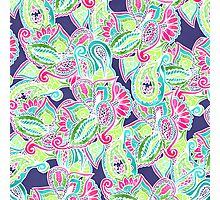 Bright Boho paisley pink blue green watercolor Photographic Print