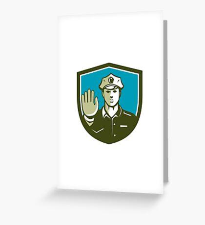 Traffic Policeman Hand Stop Sign Shield Retro Greeting Card