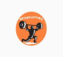 Weightlifter Lifting Weights Oval Woodcut Unisex T-Shirt