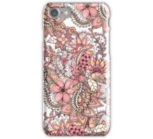 Boho chic red brown floral handdrawn pattern iPhone Case/Skin
