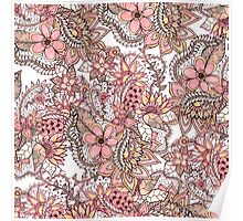 Boho chic red brown floral handdrawn pattern Poster