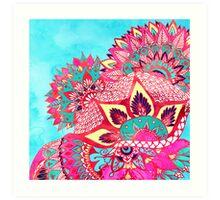 Bohemian boho red blue floral paisley pattern  Art Print