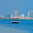 View of South Pointe and Fisher Island by Roland Pozo