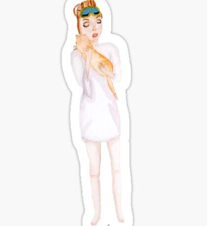 Holly Golightly & Cat Sticker