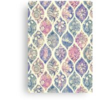 Patterned & Painted Floral Ogee in Vintage Tones Canvas Print