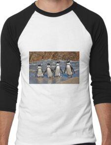 funny image of  four walking African Penguin Men's Baseball ¾ T-Shirt