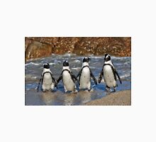 funny image of  four walking African Penguin Unisex T-Shirt