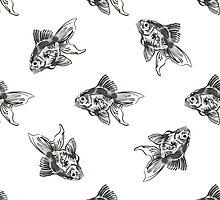golden fish ink pattern by Anna Kilanova