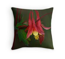 Red Columbine Throw Pillow