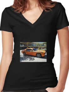 Muscle Car Women's Fitted V-Neck T-Shirt