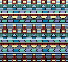 Bright colorful abstract  geometric pattern with different elements by alijun