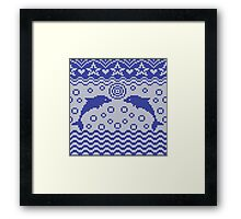 Dolphins knitted pattern Framed Print