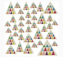 Geometric Multicolor Triangle Pattern One Piece - Short Sleeve