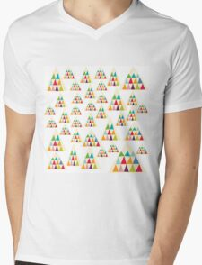 Geometric Multicolor Triangle Pattern Mens V-Neck T-Shirt