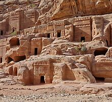 facade street in Nabataean ancient town Petra by travel4pictures