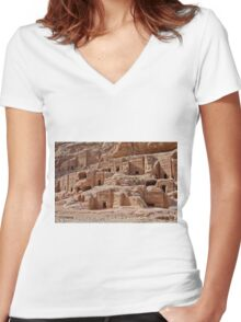 facade street in Nabataean ancient town Petra Women's Fitted V-Neck T-Shirt