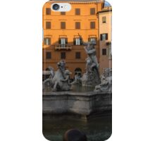 Early Morning Warmth - Neptune Fountain on Piazza Navona in Rome, Italy iPhone Case/Skin