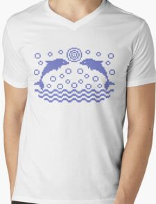 Dolphins knitted pattern Mens V-Neck T-Shirt