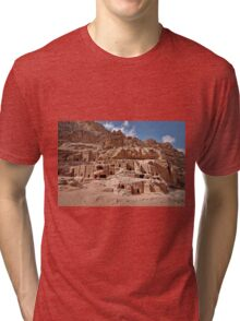 facade street in Nabataean ancient town Petra Tri-blend T-Shirt