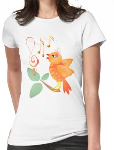 Orange Singing Bird Womens Fitted T-Shirt