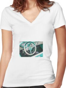 Vintage car Women's Fitted V-Neck T-Shirt