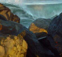Boulders Ocean Crashing Waves Sticker