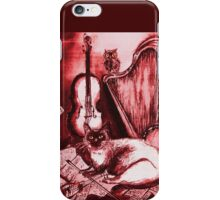 MUSICAL CAT AND OWL  Red White iPhone Case/Skin