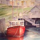 Peggys Cove Red Boat by Rosie Brown