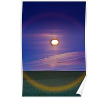 Full moon over the crop field Poster