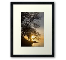 Early Gold Through the Willow Branches - A Sunrise on the Shore of Lake Ontario Framed Print