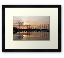 Heavenly Sunrays - Peaches-and-Cream Sunrise with Yachts Framed Print