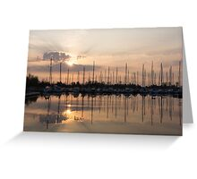 Heavenly Sunrays - Peaches-and-Cream Sunrise with Yachts Greeting Card