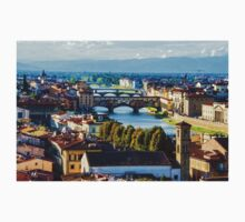 Impressions Of Florence - Arno River And The Bridges From Above Kids Tee