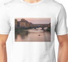 Impressions Of Florence - Ponte Vecchio Rowing In Rose Quartz Pink Unisex T-Shirt