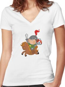little knight with his horse Women's Fitted V-Neck T-Shirt