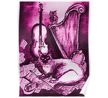 MUSICAL CAT AND OWL  Pink Fuchsia Purple White Poster