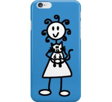 The Girl with the Curly Hair Holding Cat - Blue iPhone Case/Skin