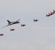 Red Arrows with XH558 by J Biggadike