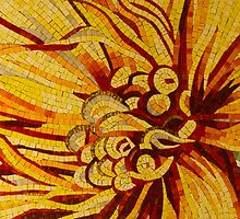 Mesmerizing Golds and Yellows - a Floral Ceramic Tile Mosaic by Georgia Mizuleva